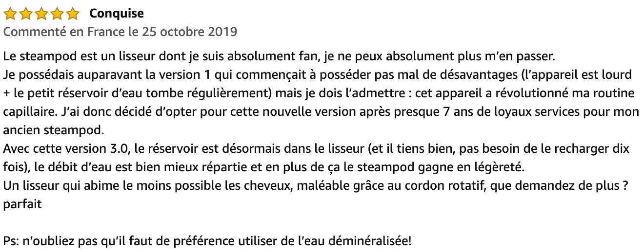 commentaire L'Oréal Steampod 3.0